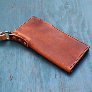 Long Wallet: English Tan w/Leash & Black Stitching