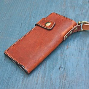 Long Wallet: English Tan w/Leash & Black Stitching