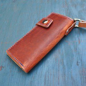 Long Wallet: English Tan w/Leash & Blue Stitching
