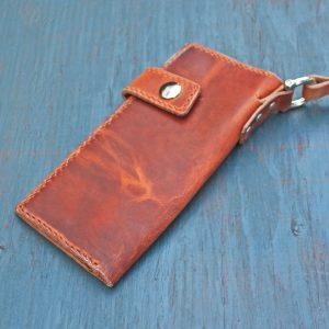 Long Wallet: English Tan w/Leash & Orange Stitching