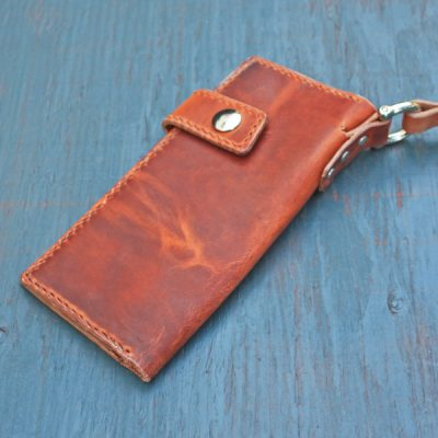 Long Wallet: English Tan w/Leash & Orange Stitching