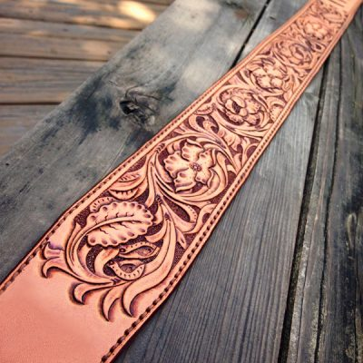 Custom Hand Tooled Floral Guitar Straps
